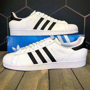 Adidas Superstar White Black Casual Sneakers Sz 19